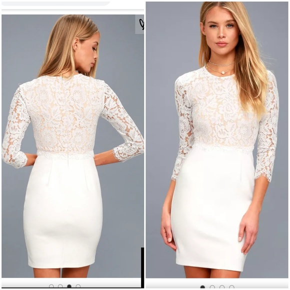 SHE KNOWS WHITE LACE BODYCON DRESS 4500ecd58